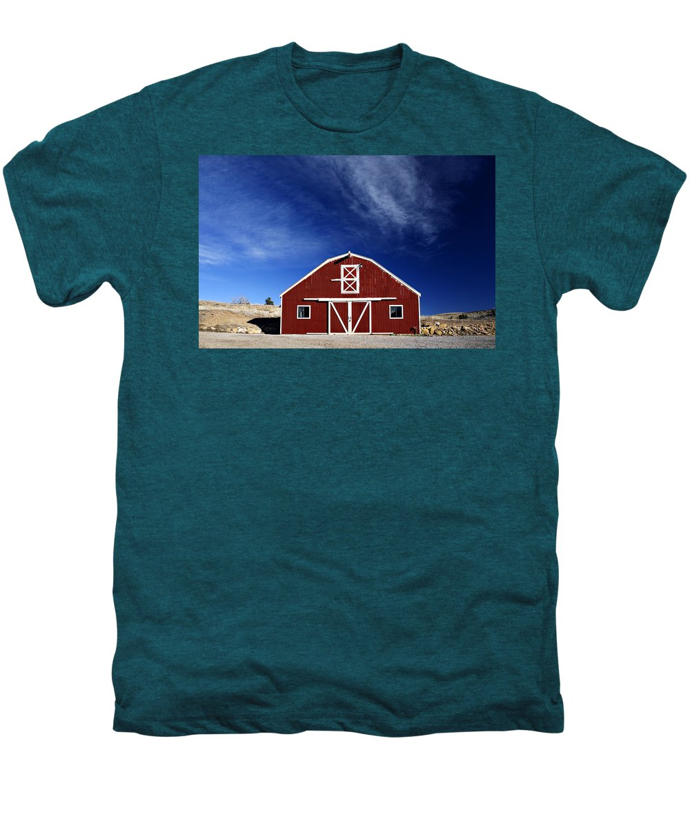 Americana Men's Premium T-Shirt featuring the photograph Red And White Barn by Marilyn Hunt