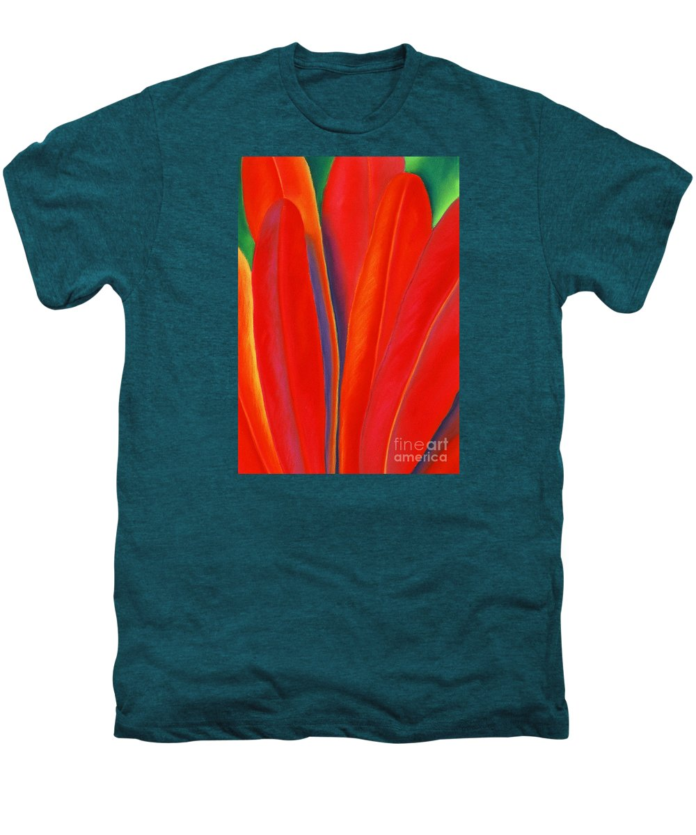 Red Men's Premium T-Shirt featuring the painting Red Petals by Lucy Arnold
