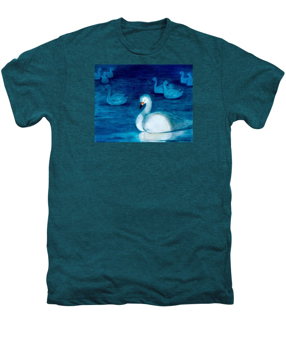 Duck Men's Premium T-Shirt featuring the painting Reflections 1 by Jun Jamosmos