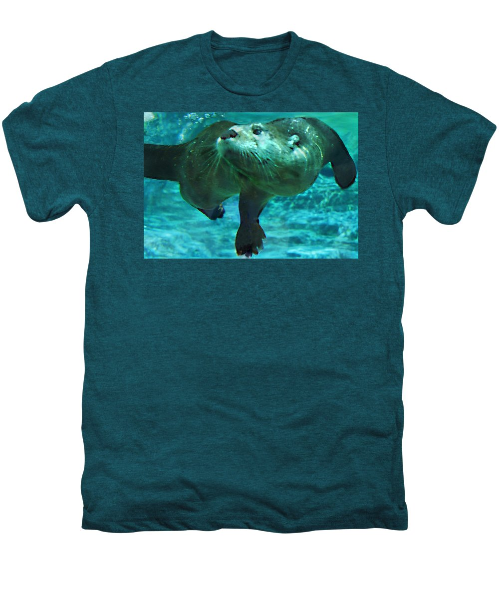 Animal Men's Premium T-Shirt featuring the photograph River Otter by Steve Karol