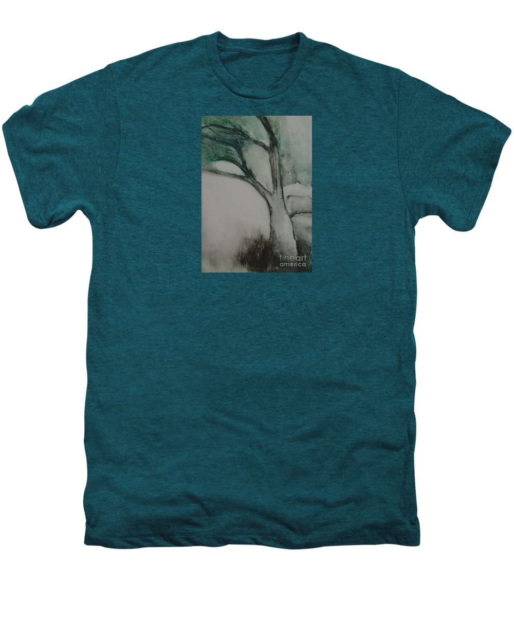 Monoprint Tree Rock Trees Men's Premium T-Shirt featuring the painting Rock Tree by Leila Atkinson