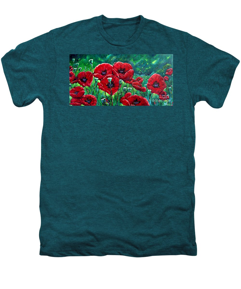 Forest Men's Premium T-Shirt featuring the painting Rubies In The Emerald Forest by Richard T Pranke