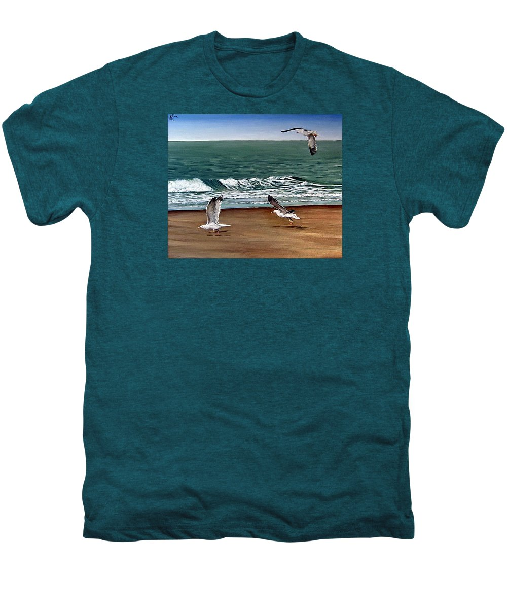 Seascape Men's Premium T-Shirt featuring the painting Seagulls 2 by Natalia Tejera