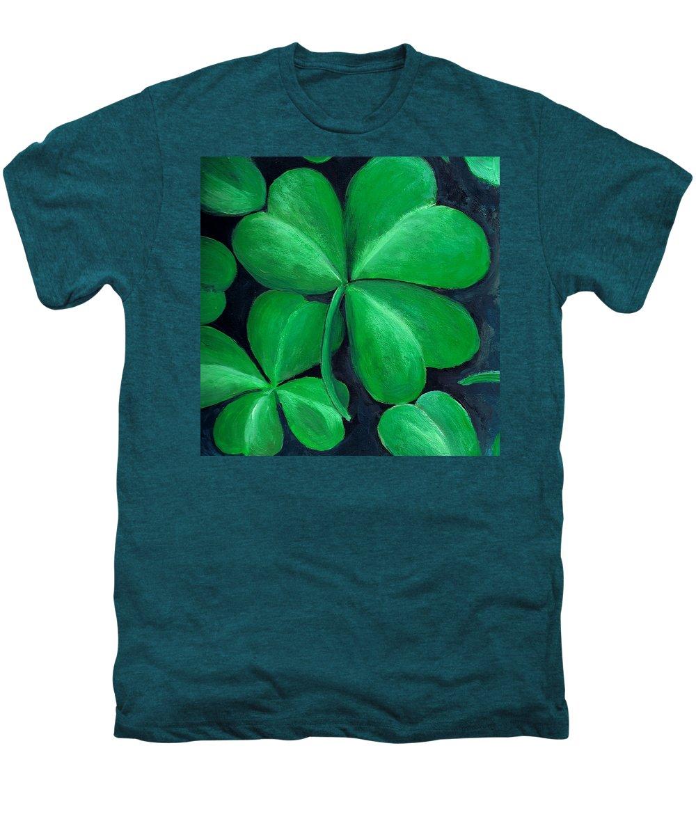 Shamrock Men's Premium T-Shirt featuring the painting Shamrocks by Nancy Mueller