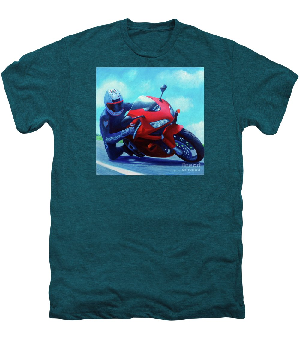 Motorcycle Men's Premium T-Shirt featuring the painting Sky Pilot - Honda Cbr600 by Brian Commerford