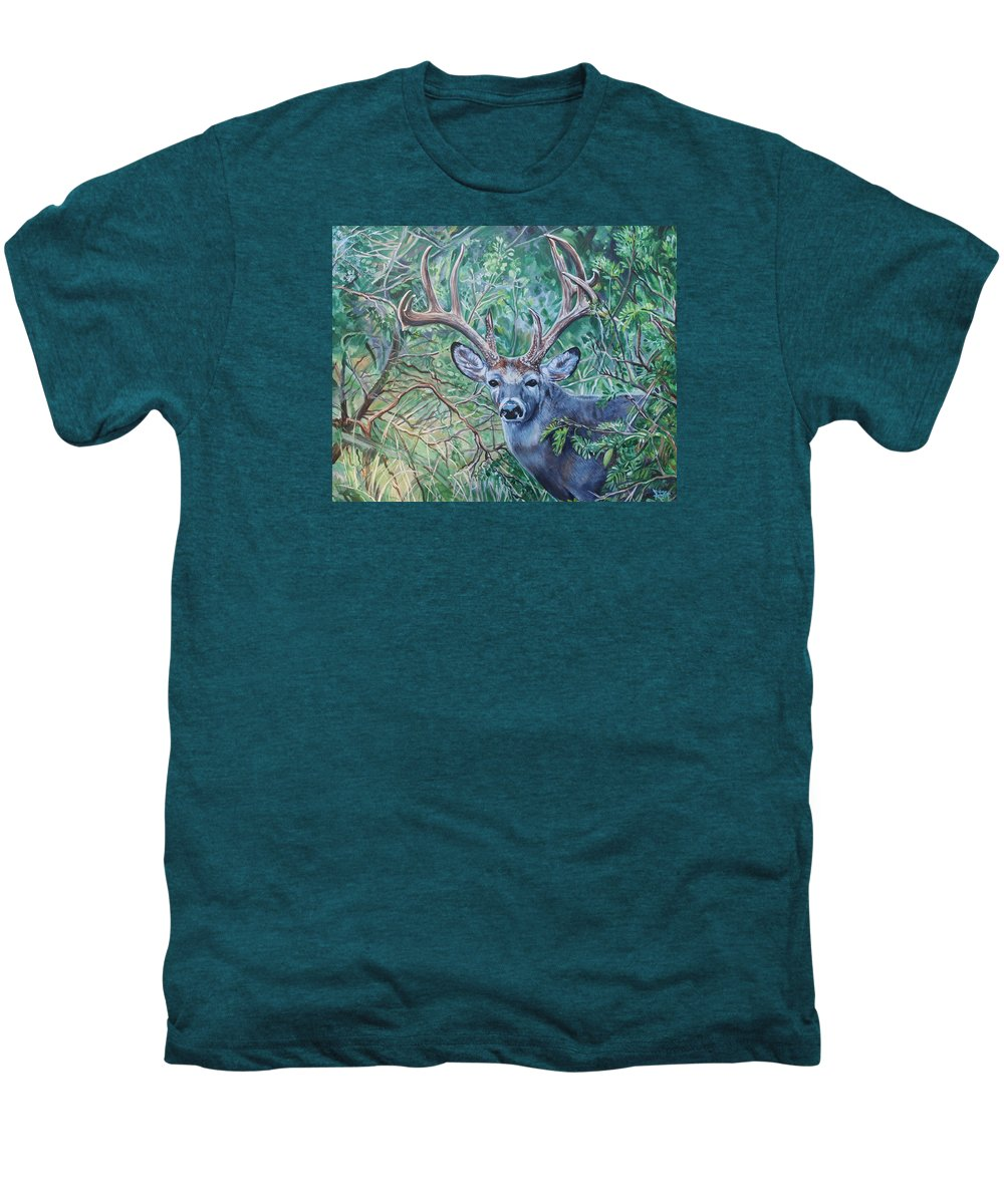 Deer Men's Premium T-Shirt featuring the painting South Texas Deer In Thick Brush by Diann Baggett