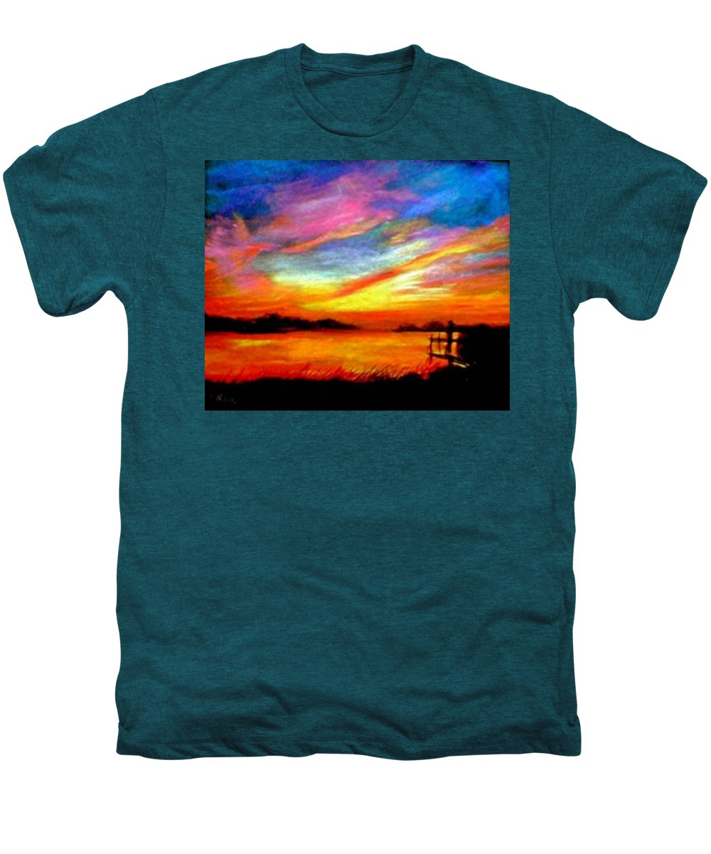 Sunset Men's Premium T-Shirt featuring the painting Southern Sunset by Gail Kirtz