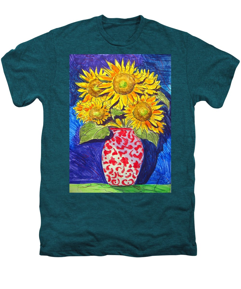 Sunflower Men's Premium T-Shirt featuring the painting Sunny Disposition by Jean Blackmer