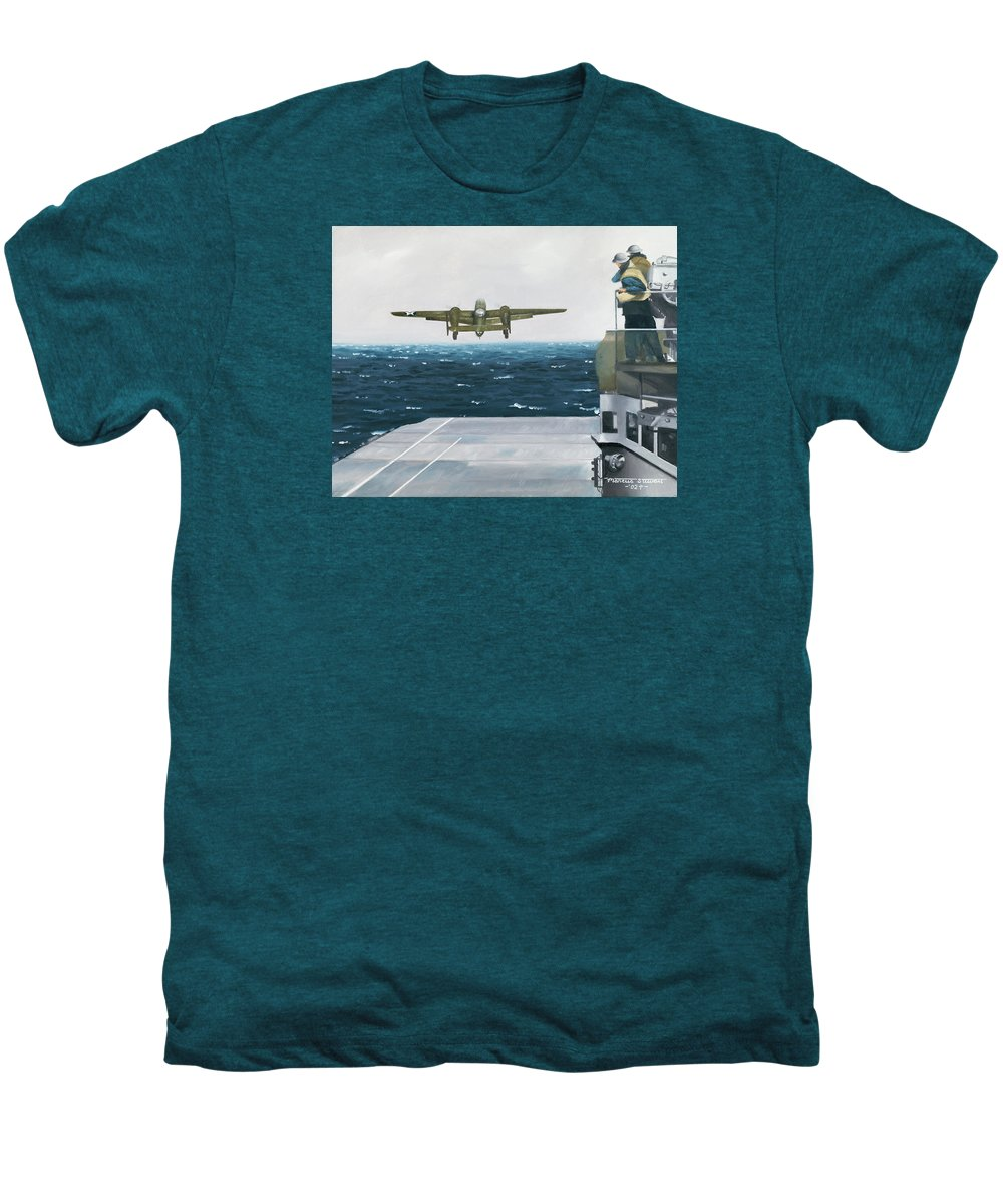 Aviation Men's Premium T-Shirt featuring the painting Target Tokyo by Marc Stewart