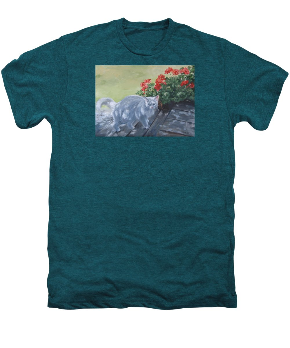 Cat Men's Premium T-Shirt featuring the painting A Feral Cloud by Connie Schaertl