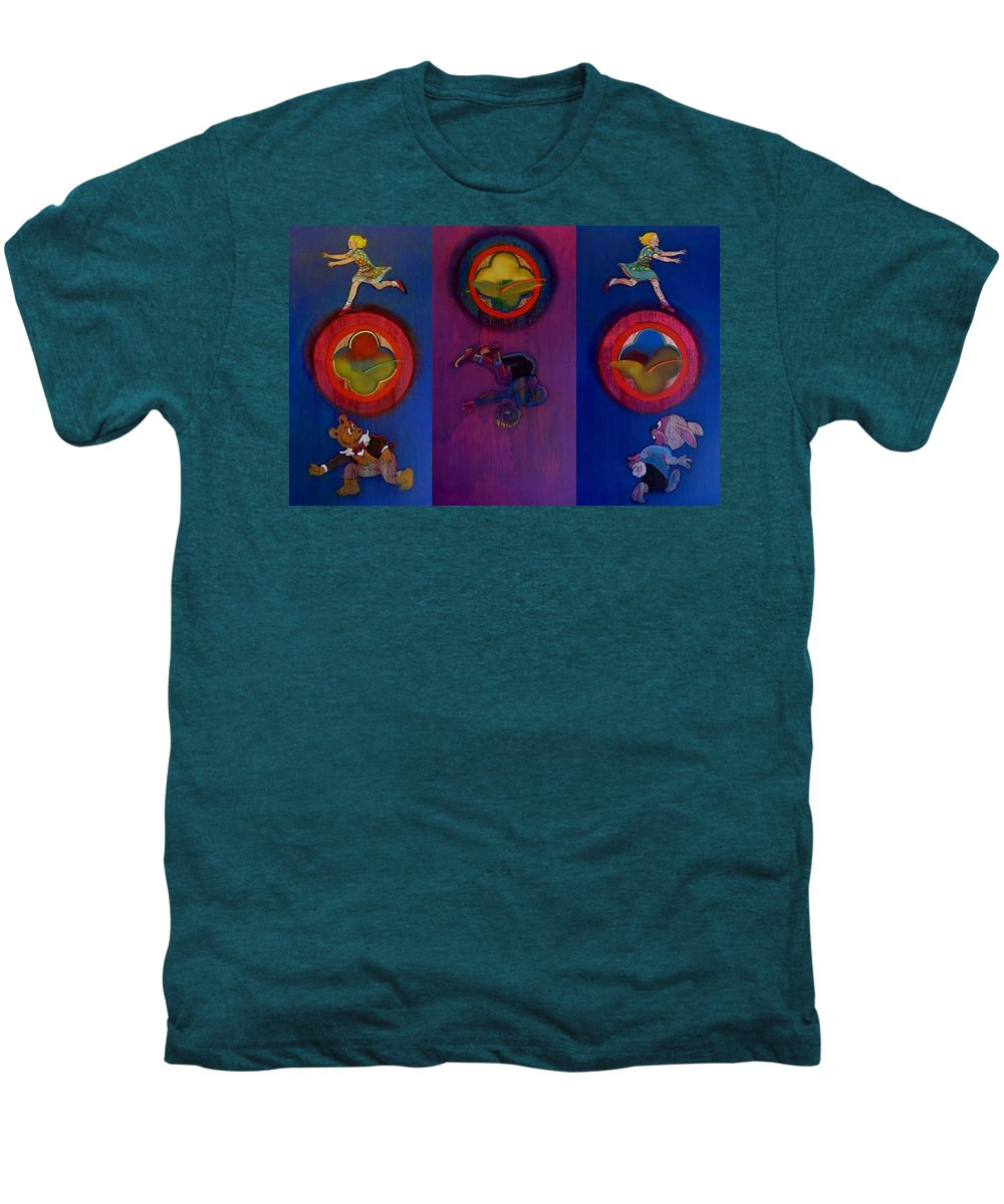 The Drums Of The Fruit Machine Stop At Random. Triptych Men's Premium T-Shirt featuring the painting The Fruit Machine Stops II by Charles Stuart