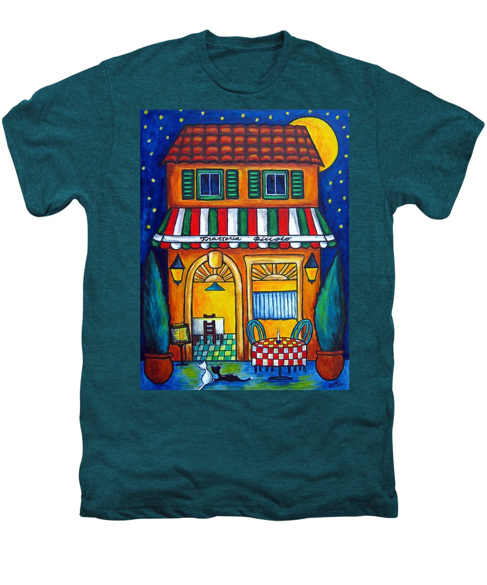 Blue Men's Premium T-Shirt featuring the painting The Little Trattoria by Lisa Lorenz