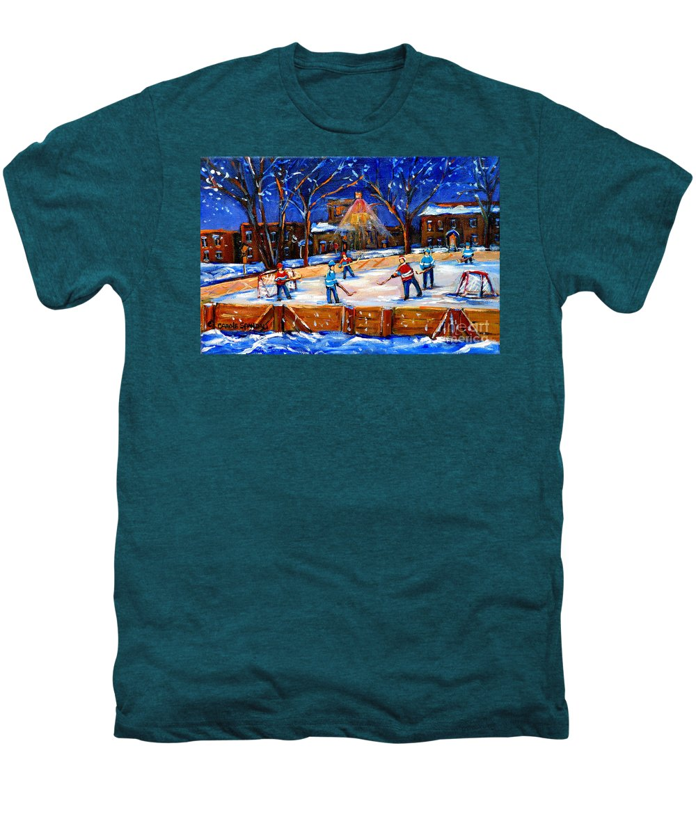Montreal Men's Premium T-Shirt featuring the painting The Neighborhood Hockey Rink by Carole Spandau
