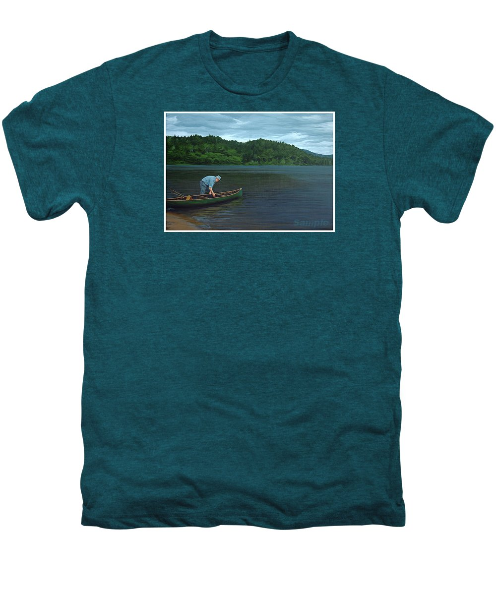 Landscape Men's Premium T-Shirt featuring the painting The Old Green Canoe by Jan Lyons