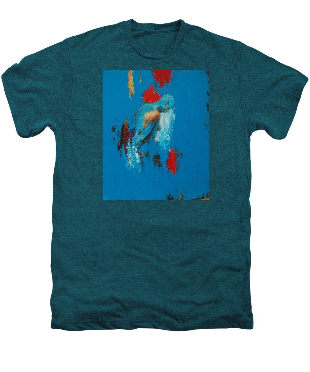 Female Men's Premium T-Shirt featuring the painting Torso In Blue by Jos Van de Venne