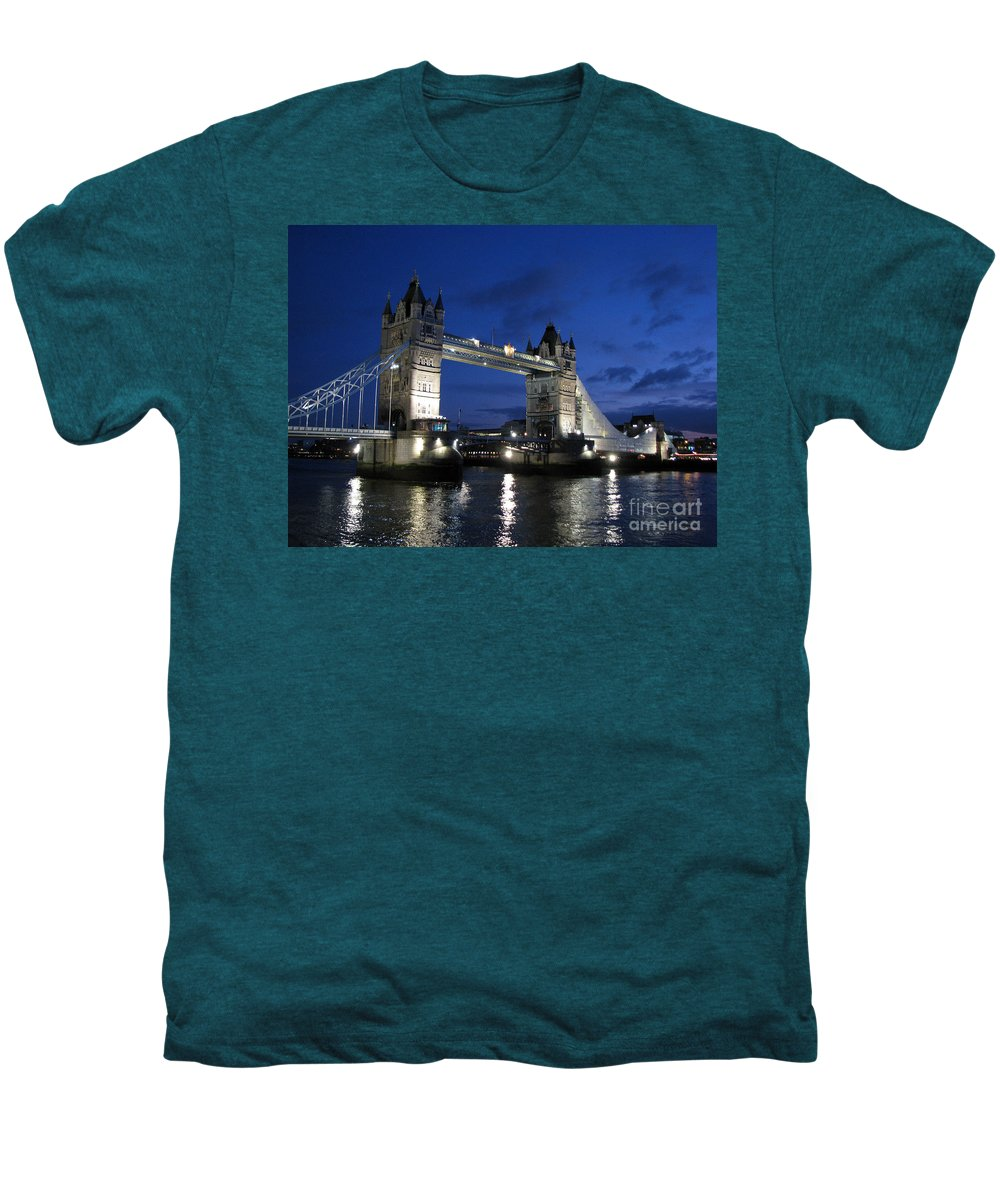 London Men's Premium T-Shirt featuring the photograph Tower Bridge by Amanda Barcon