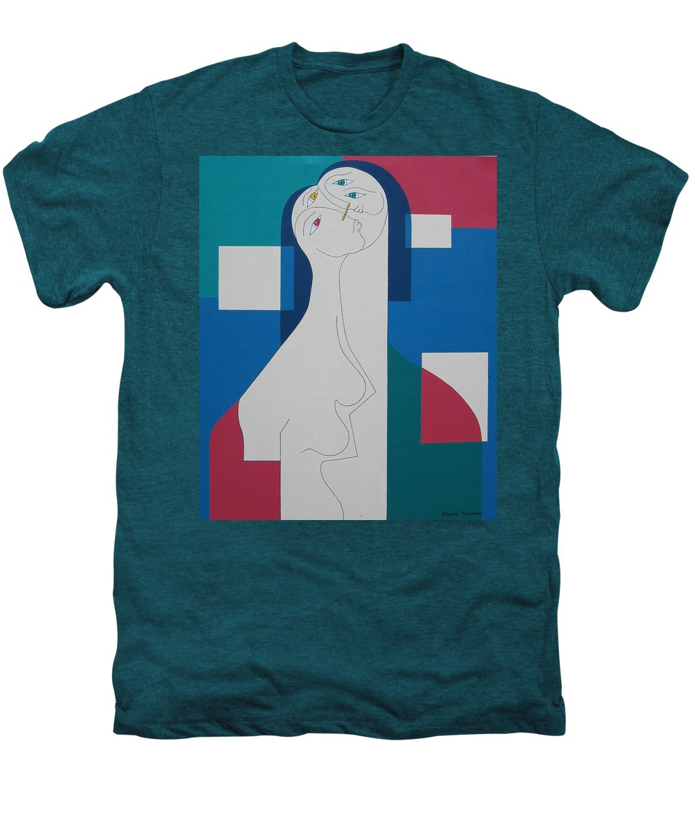 Modern Women Bleu Green Red Humor Men's Premium T-Shirt featuring the painting Trio by Hildegarde Handsaeme