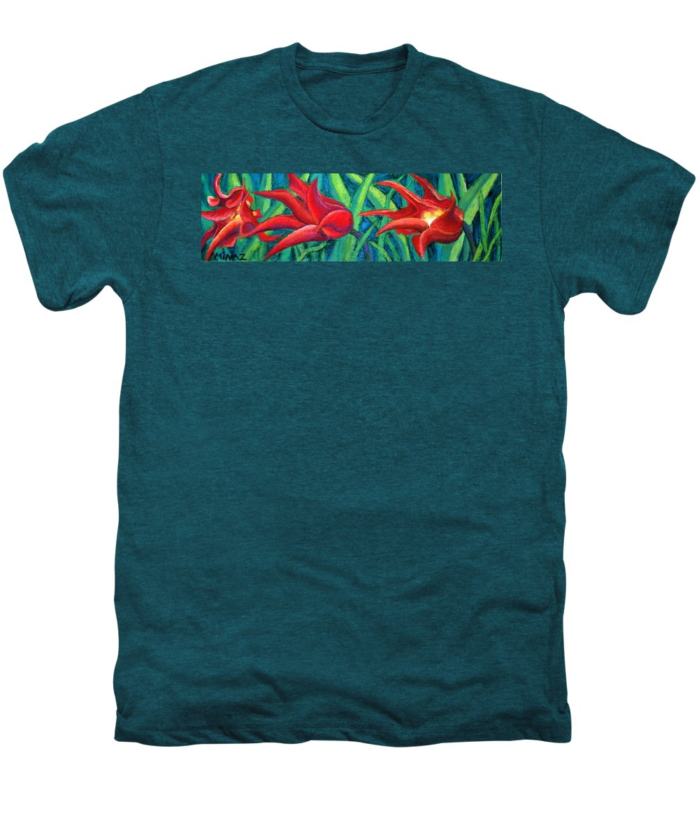 Tulips Men's Premium T-Shirt featuring the painting Triple Tease Tulips by Minaz Jantz