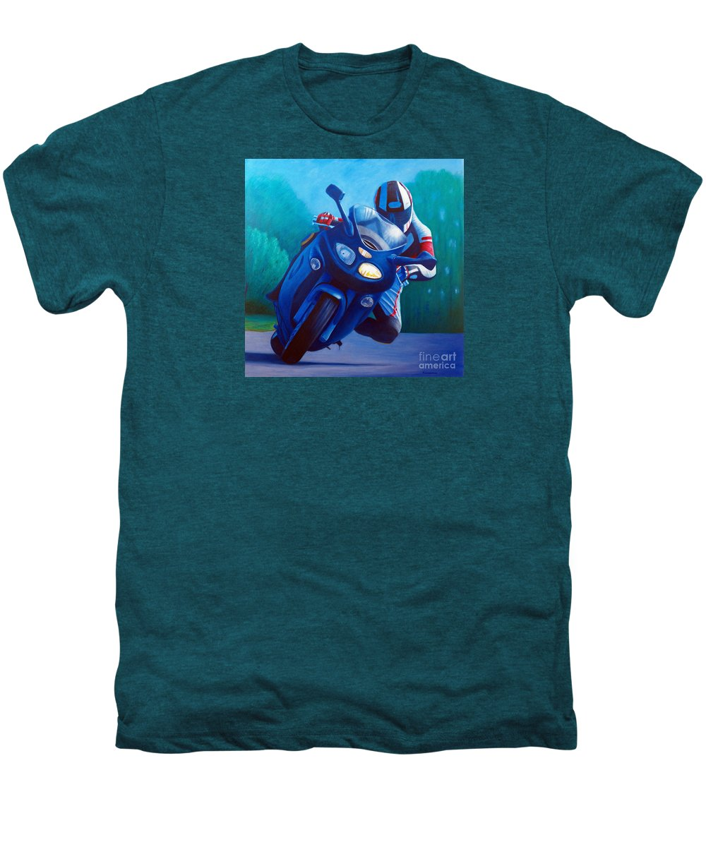 Motorcycle Men's Premium T-Shirt featuring the painting Triumph Sprint - Franklin Canyon by Brian Commerford