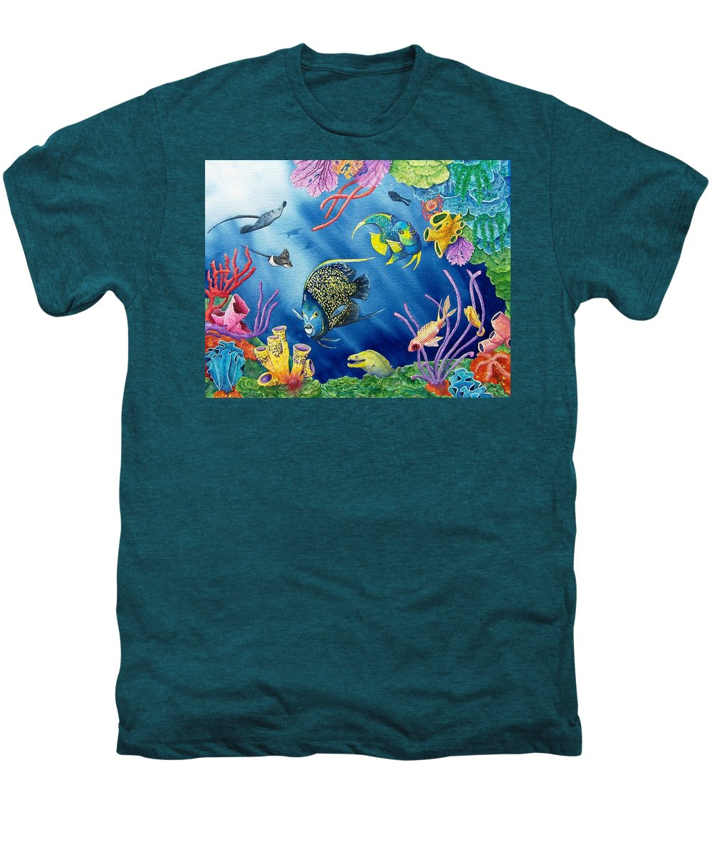 Undersea Men's Premium T-Shirt featuring the painting Undersea Garden by Gale Cochran-Smith