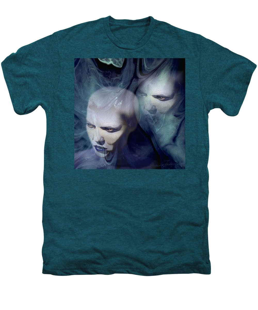 Dream Afterlife Experience Blue Smoke Men's Premium T-Shirt featuring the digital art Untitled by Veronica Jackson