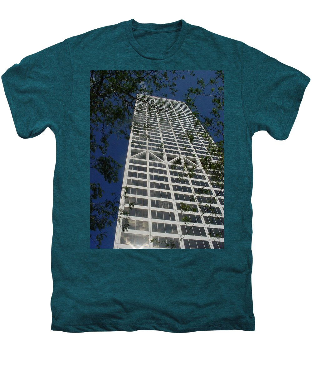 Us Bank Men's Premium T-Shirt featuring the photograph Us Bank With Trees by Anita Burgermeister