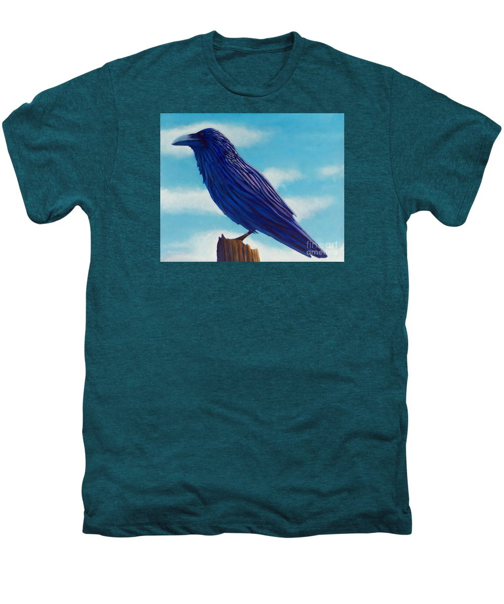 Raven Men's Premium T-Shirt featuring the painting Waiting by Brian Commerford