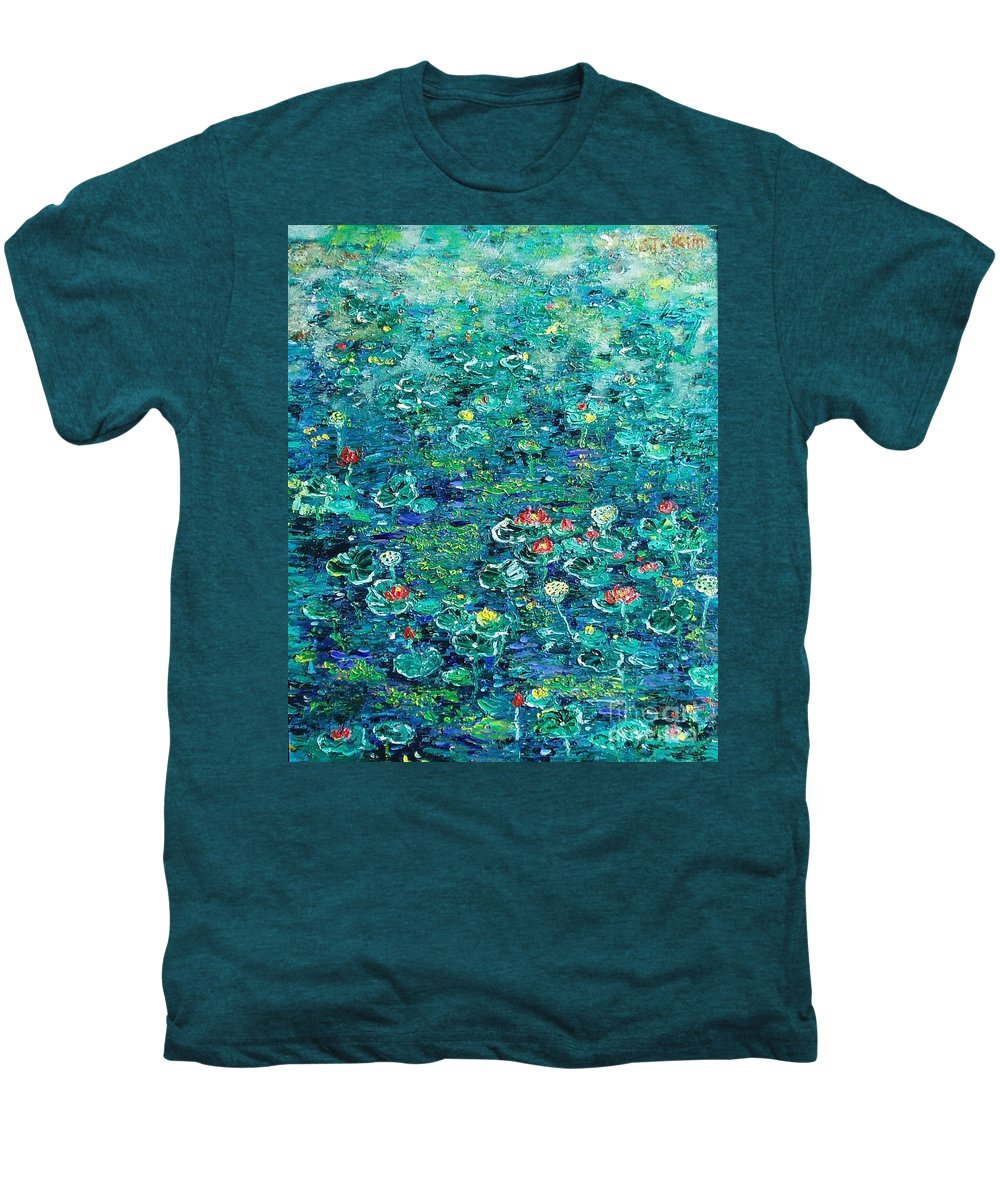 Water Lily Paintings Men's Premium T-Shirt featuring the painting Water Lilies Lily Pad Lotus Water Lily Paintings by Seon-Jeong Kim