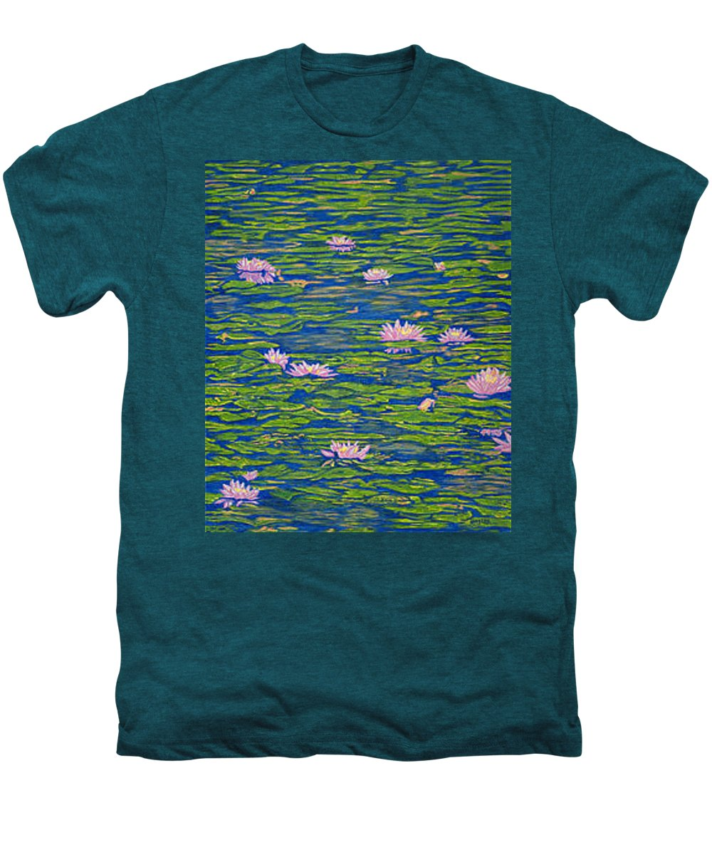 Lotuses Men's Premium T-Shirt featuring the drawing Water Lily Flowers Happy Water Lilies Fine Art Prints Giclee High Quality Impressive Color Lotuses by Baslee Troutman