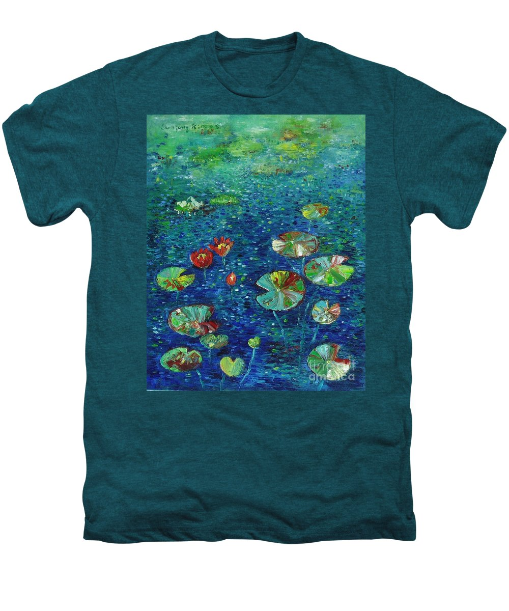 Lotus Paintings Men's Premium T-Shirt featuring the painting Water Lily Lotus Lily Pads Paintings by Seon-Jeong Kim