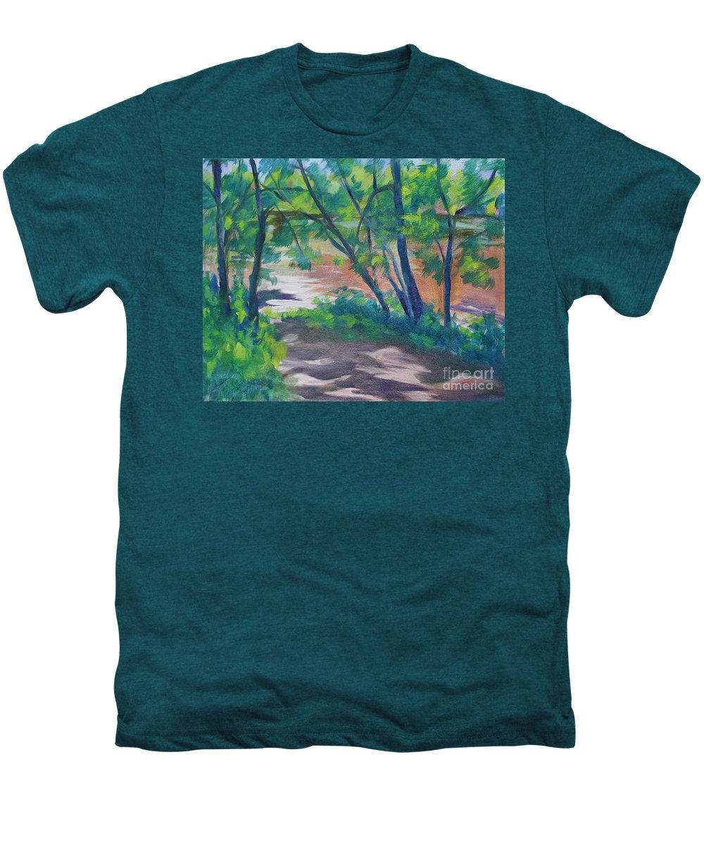Landscape Men's Premium T-Shirt featuring the painting Watercress Beach On The Current River  by Jan Bennicoff