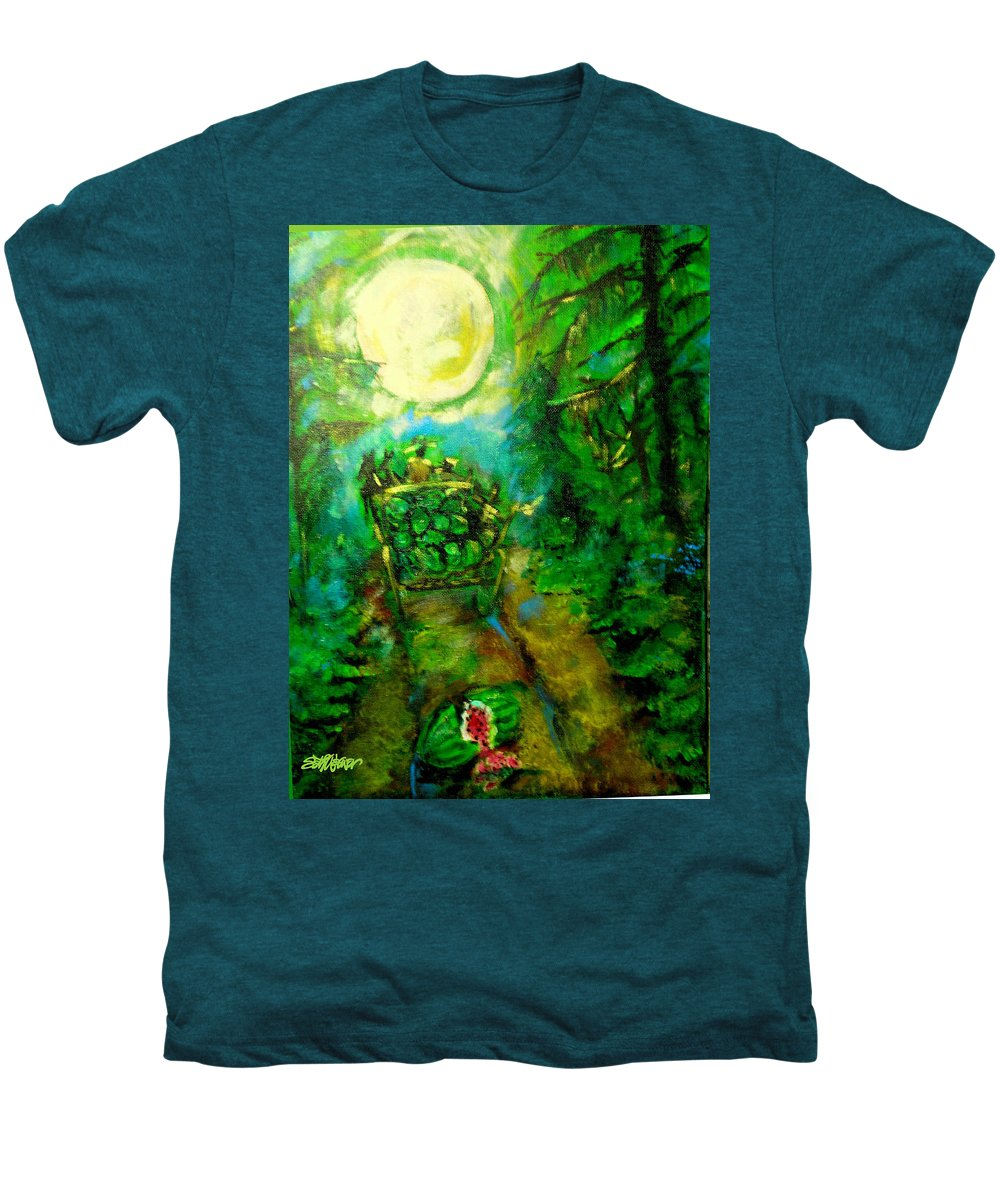 Watermelon Wagon Moon Men's Premium T-Shirt featuring the painting Watermelon Wagon Moon by Seth Weaver