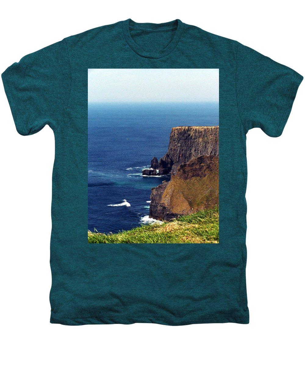 Irish Men's Premium T-Shirt featuring the photograph Waves Crashing At Cliffs Of Moher Ireland by Teresa Mucha