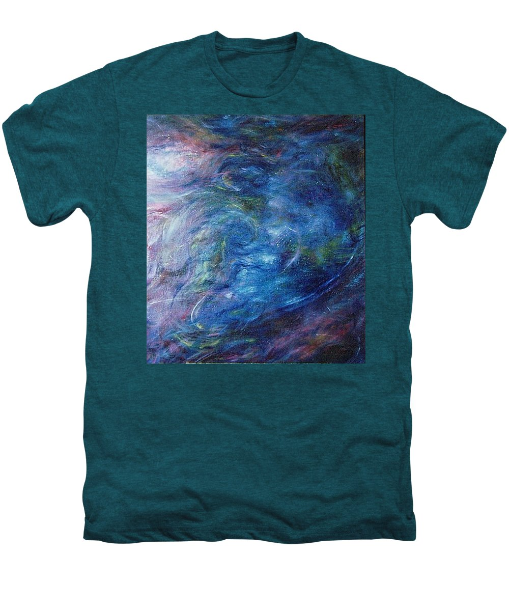 Abstract Men's Premium T-Shirt featuring the painting Whispers In A Sea Of Blue by Nancy Mueller