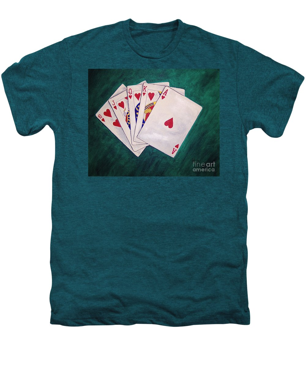 Playing Cards Wining Hand Role Flush Men's Premium T-Shirt featuring the painting Wining Hand 2 by Herschel Fall