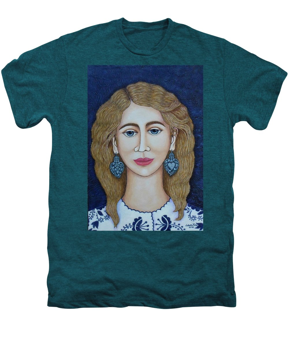 Woman Men's Premium T-Shirt featuring the painting Woman With Silver Earrings by Madalena Lobao-Tello