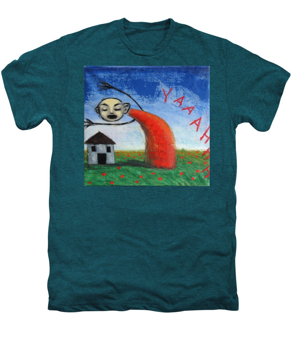 Figure Men's Premium T-Shirt featuring the painting Yaaahhh by Pauline Lim