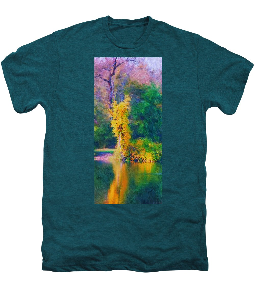 Digital Landscape Men's Premium T-Shirt featuring the digital art Yellow Reflections by David Lane