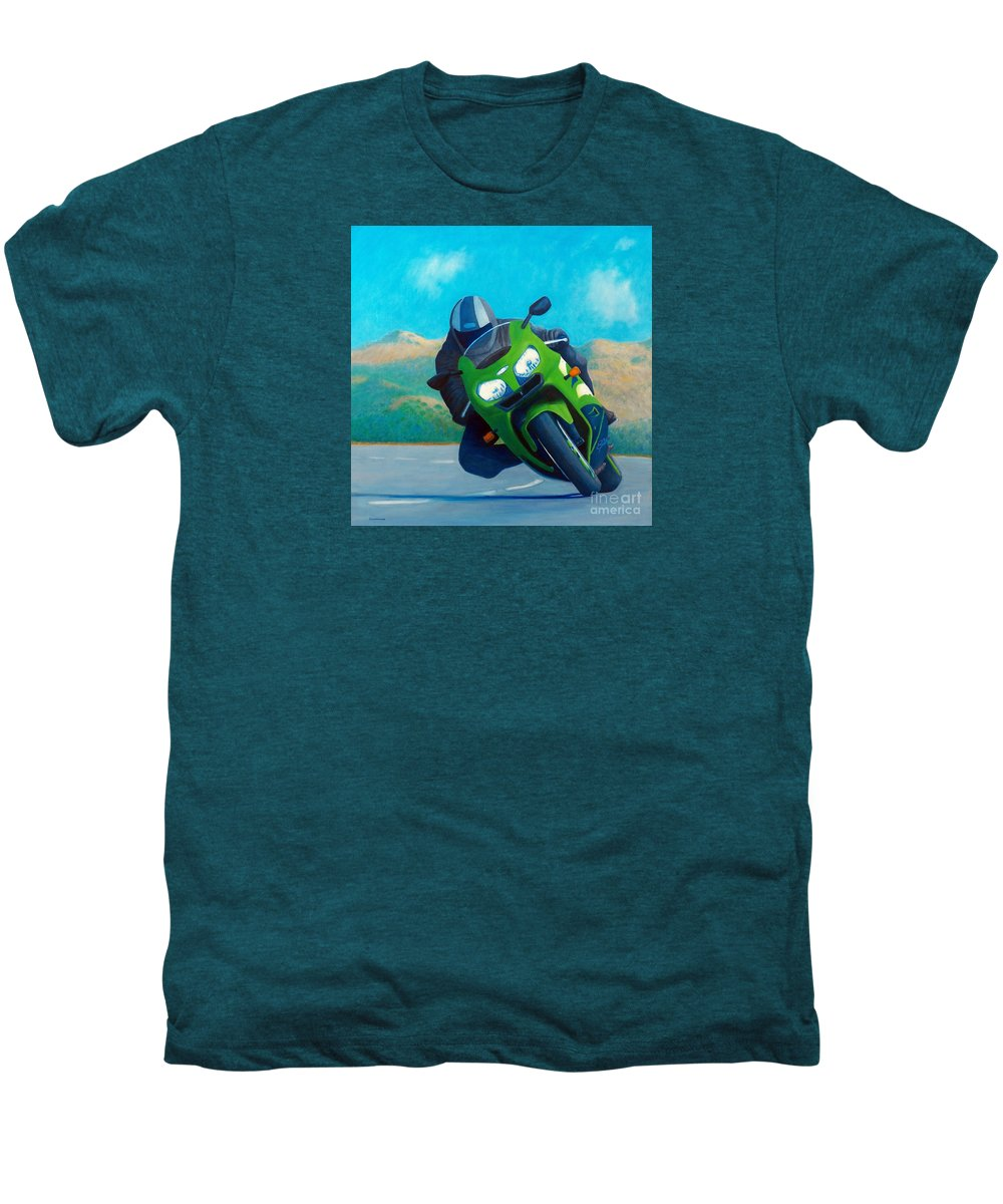 Motorcycle Men's Premium T-Shirt featuring the painting Zx9 - California Dreaming by Brian Commerford