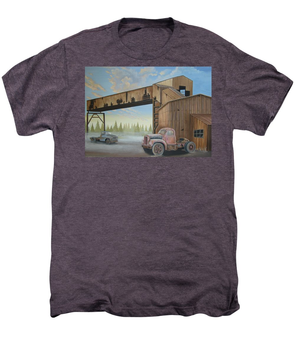 Old Truck Men's Premium T-Shirt featuring the painting Abandoned Mine by Stuart Swartz
