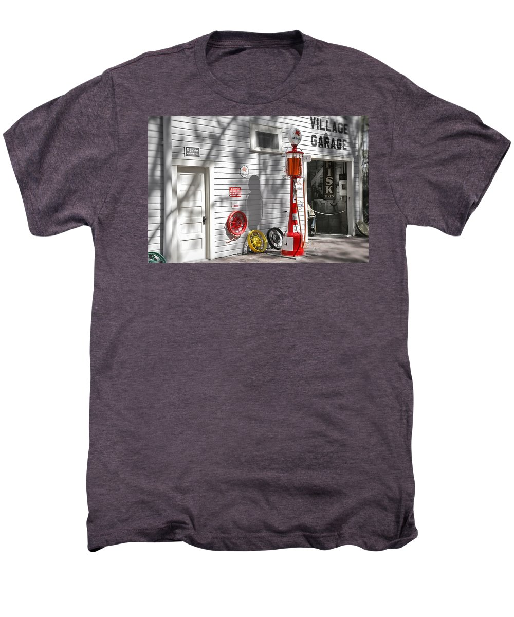Garage Men's Premium T-Shirt featuring the photograph An Old Village Gas Station by Mal Bray