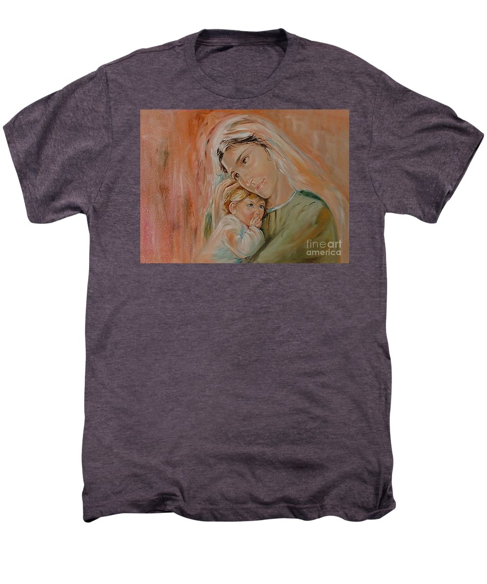 Classic Art Men's Premium T-Shirt featuring the painting Ave Maria by Silvana Abel