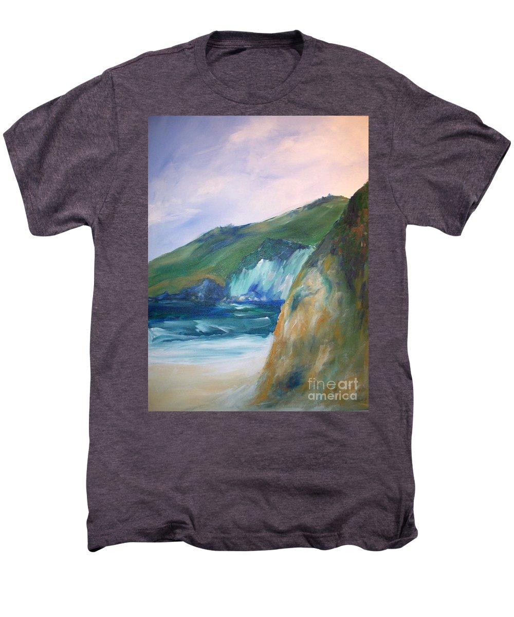 California Coast Men's Premium T-Shirt featuring the painting Beach California by Eric Schiabor