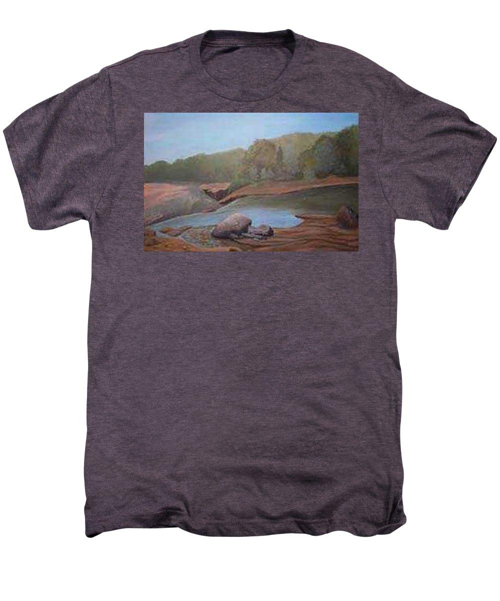 Rick Huotari Men's Premium T-Shirt featuring the painting Black River Falls by Rick Huotari