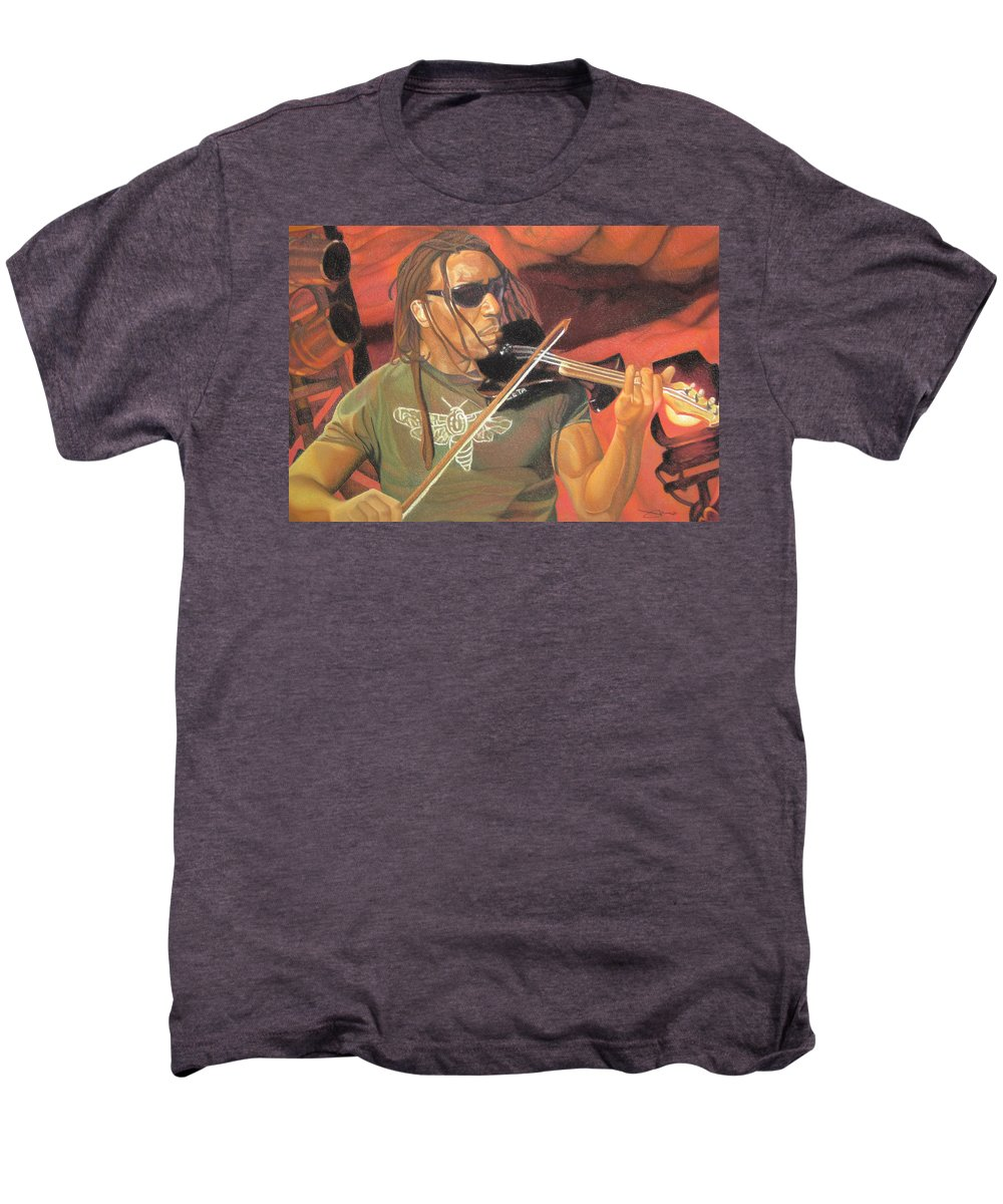 Boyd Tinsley Men's Premium T-Shirt featuring the drawing Boyd Tinsley At Red Rocks by Joshua Morton
