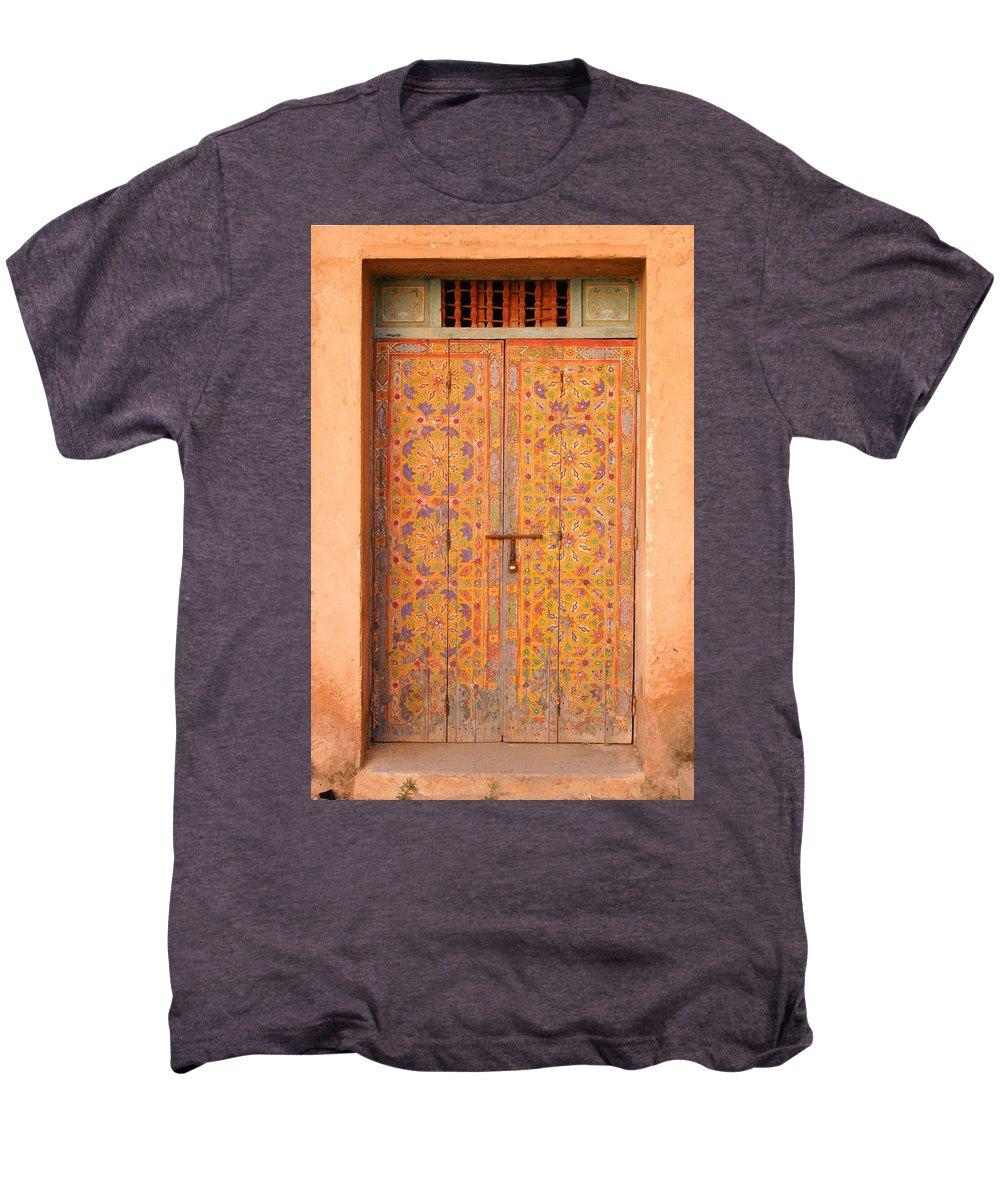 Door Men's Premium T-Shirt featuring the photograph Colourful Entrance Door Sale Rabat Morocco by Ralph A Ledergerber-Photography