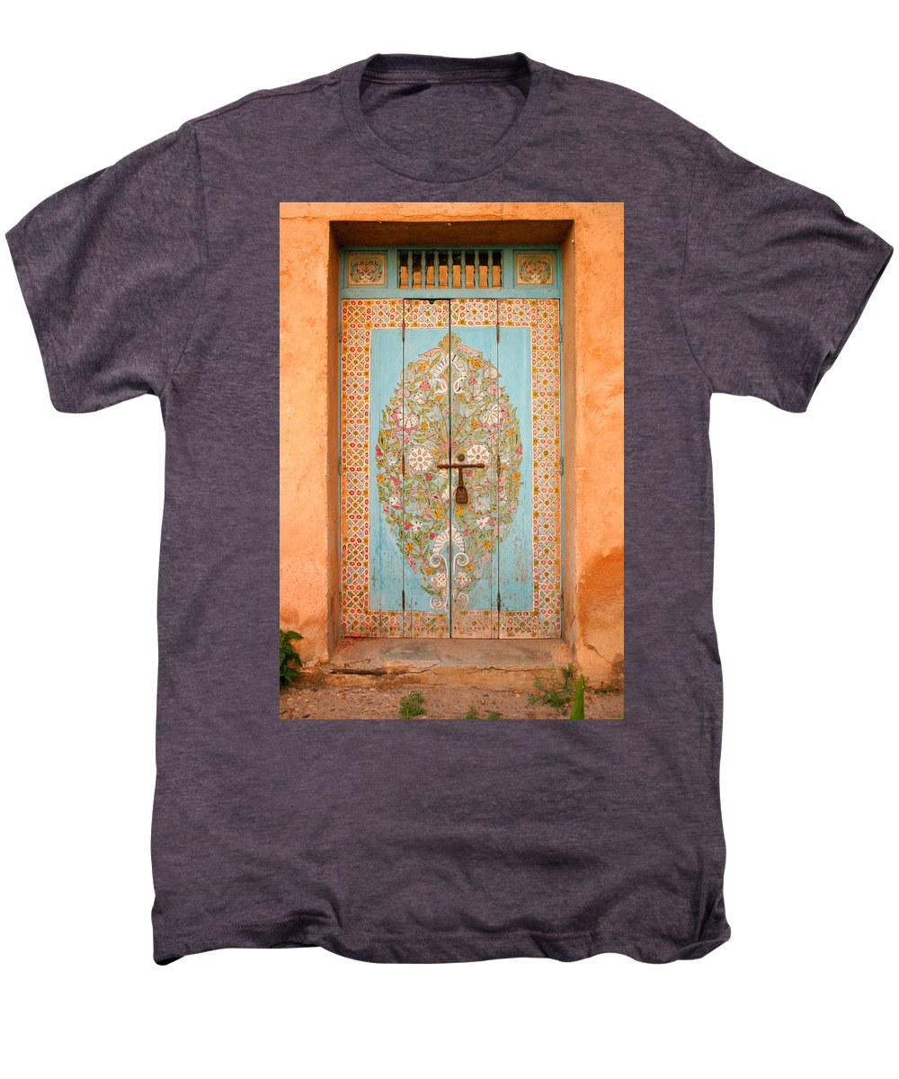 Door Men's Premium T-Shirt featuring the photograph Colourful Moroccan Entrance Door Sale Rabat Morocco by Ralph A Ledergerber-Photography