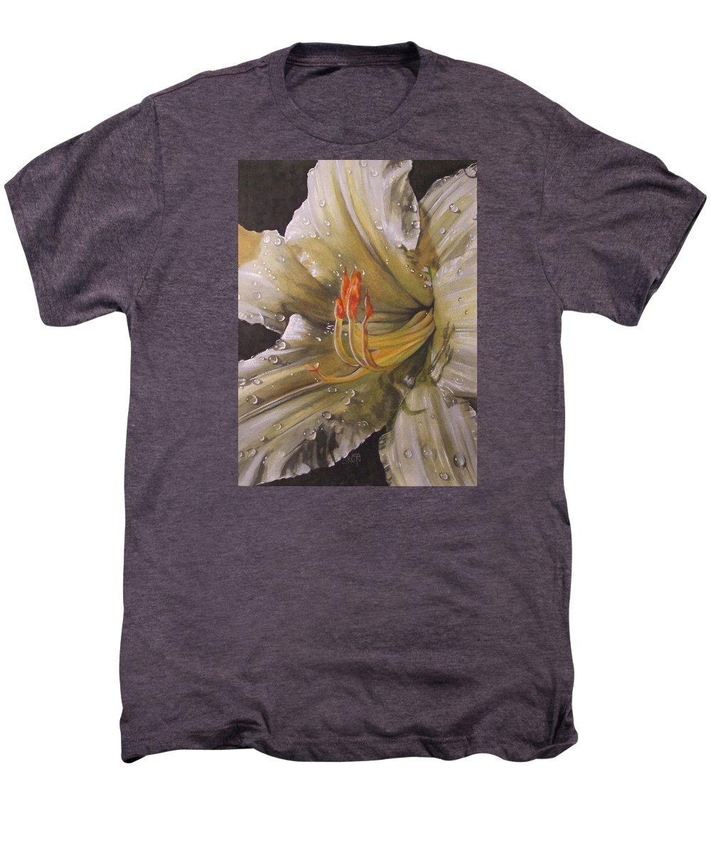 Daylily Men's Premium T-Shirt featuring the painting Diamonds by Barbara Keith