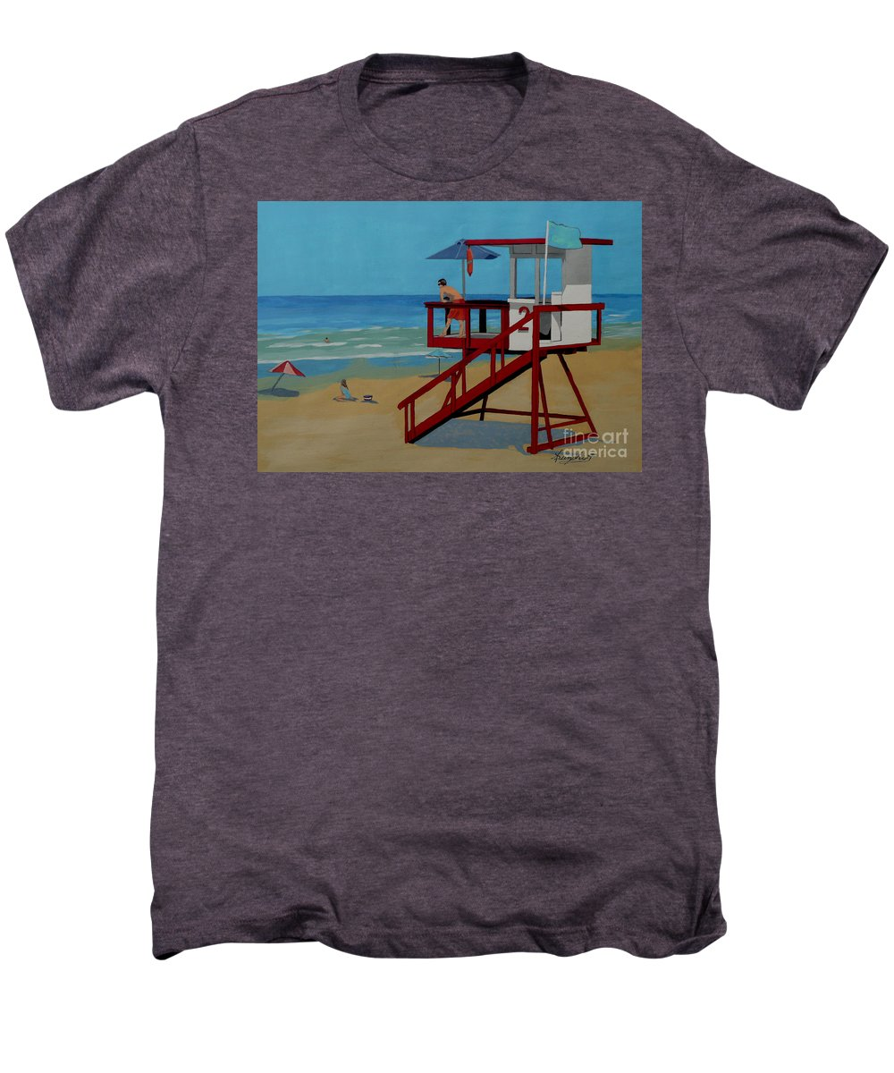Lifeguard Men's Premium T-Shirt featuring the painting Distracted Lifeguard by Anthony Dunphy