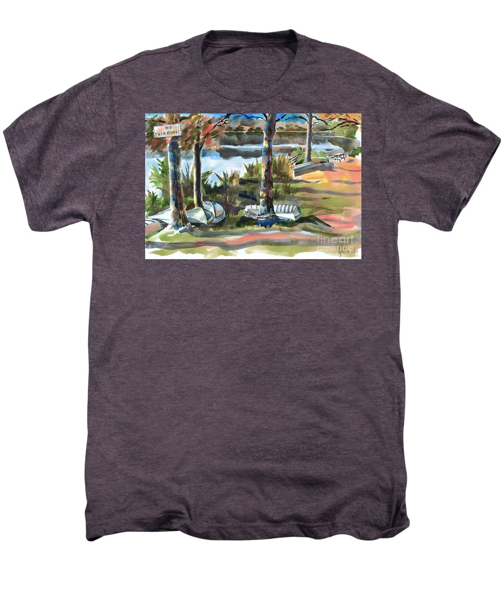 Evening Shadows At Shepherd Mountain Lake No W101 Men's Premium T-Shirt featuring the painting Evening Shadows At Shepherd Mountain Lake No W101 by Kip DeVore